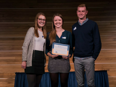 students receiving award at the day of student recognition